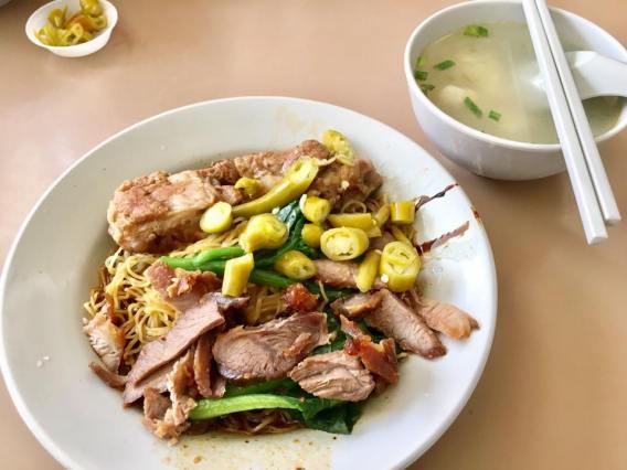 S$3 wanton noodles + S$1 pork ribs