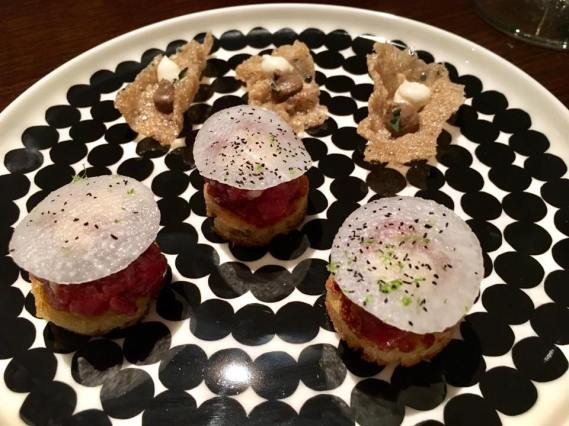 toast of beef tartare + mushroom crackers
