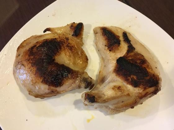 "pan roasted ""sous vide"" brined chicken breast + thigh"