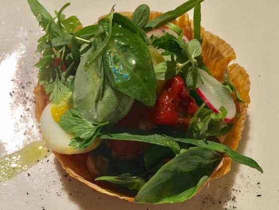 tarte nicoise with basil sorbet