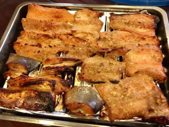 teriyaki salmon belly (more bones than belly, still very nice)