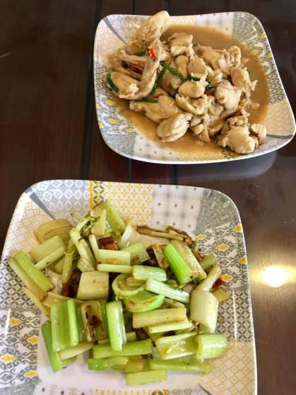 wine chicken + celery withe salted fish