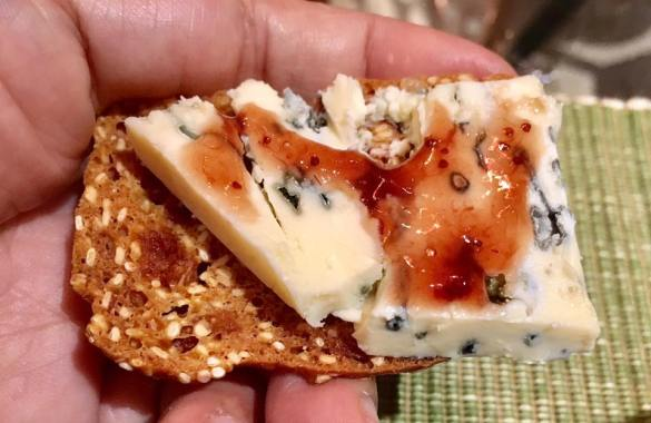 blue cheese with jam