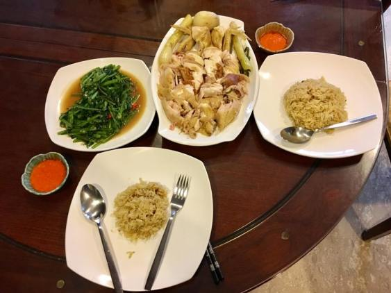 chicken rice & fried kang kong