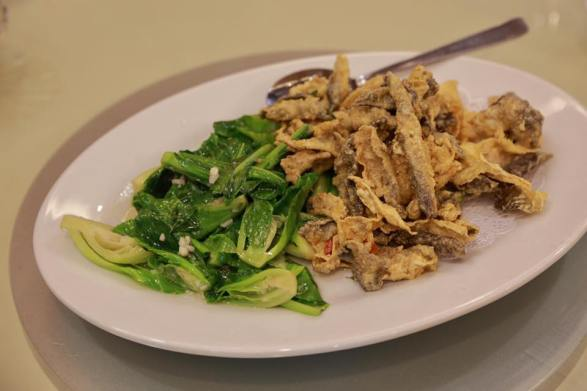 deep-fried crispy fish skin & thai kailan