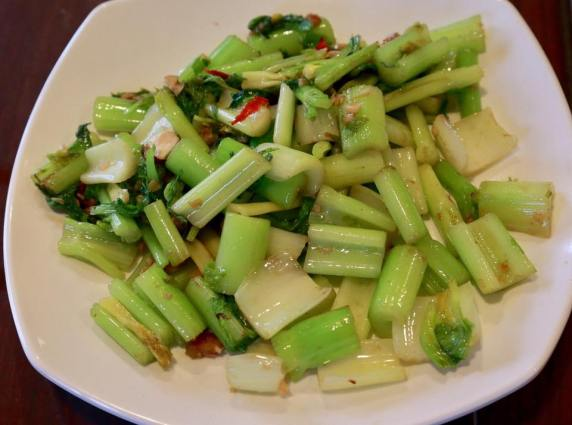 fried celery with salted fish