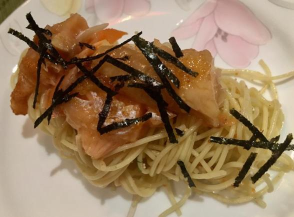 mentaiko capellini with salmon