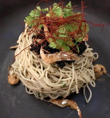 caviar truffle capellini with sakura ebi