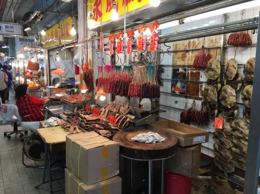 fa yun street 花园街 lap cheong market stall selling chinese pork & liver sauasges
