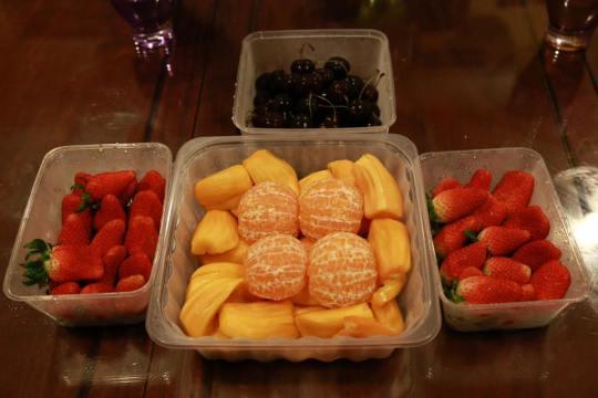 strawberries, cherries orange & jackfruits - fruits all very sweet
