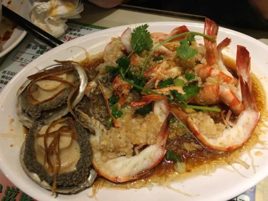 garlic steamed abalones & prawns - HK$480 set dinner at chuen mun kee 銓满记