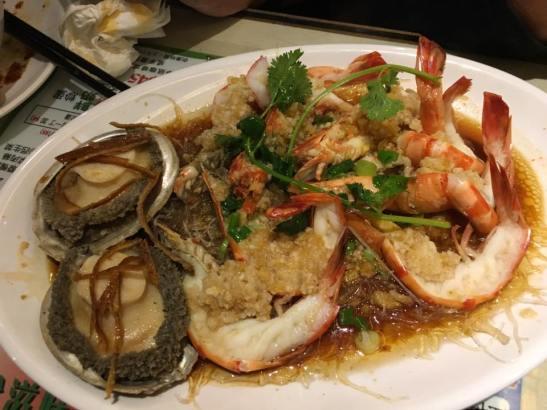 garlic steamed abalones & prawns - HK$480 set dinner at chuen mun kee 銓满记