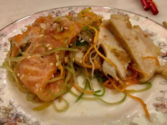 lo hei with abalone & salmon