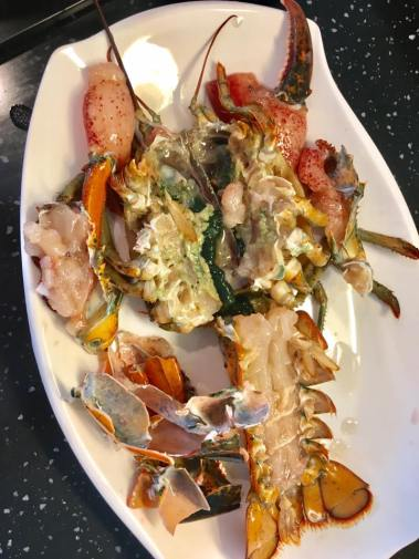 lobster - preparation for braising in superior stock