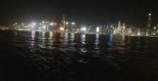 night scene of victoria harbour