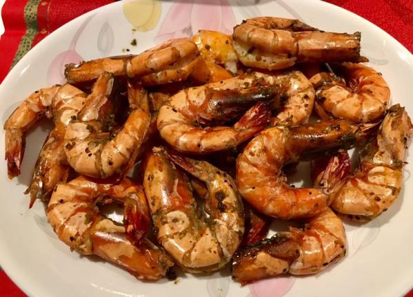 wife's oven grilled prawns