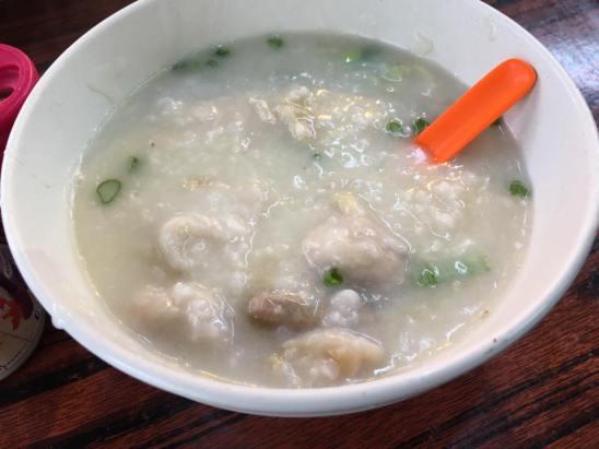 pig innards congee 状元及第粥 @ cheung chau market stall