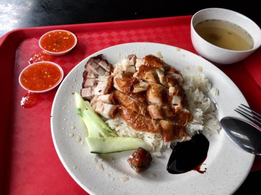 S$4 chicken drum rice + S$1 roast pork