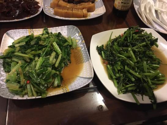 stirfried kang kong & romaine lettuce