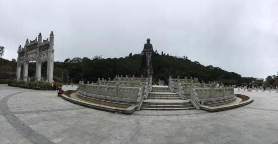 Tian Tan Buddha,aka Big Buddha on top a long flight of stairs