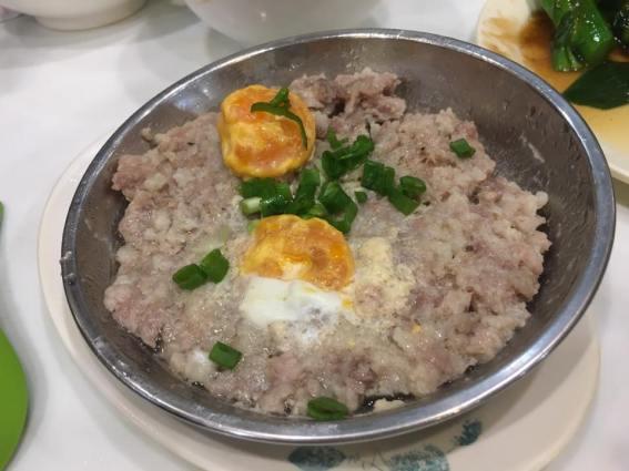 咸蛋蒸肉饼steamed minced pork @ sai kee congee 西記粥店