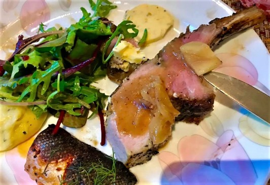 iberico pork with potato mash and salad