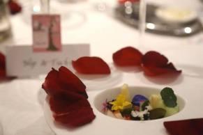 1st course - alaskan crab, tomato gelatine, cucumber sorbet