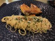 my sous vide french poulette with excellent alio olio