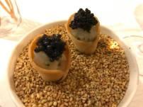 amuse bouche 1 = prawn tartare & caviar cone