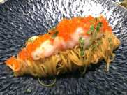 gamberro rosso tagliolini pasta with red prawn tartare and fish roes