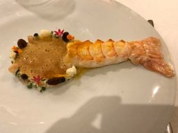 2nd course = mozambique scampi basically lobster size, with seafood bisque