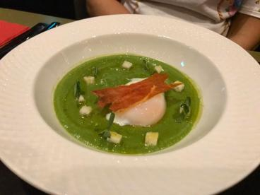 green pea soup with 63 deg egg, crispy parma ham