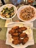 3 dishes = pork shobayaki, pork shobayaki & broccoli