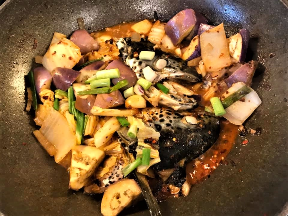 mala spiced pot with salmon head 麻辣香锅