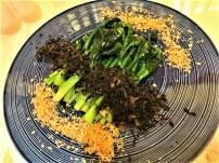kailan with olive veg and crispy garlic