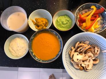 puree, sauces, stock for valentine dinner