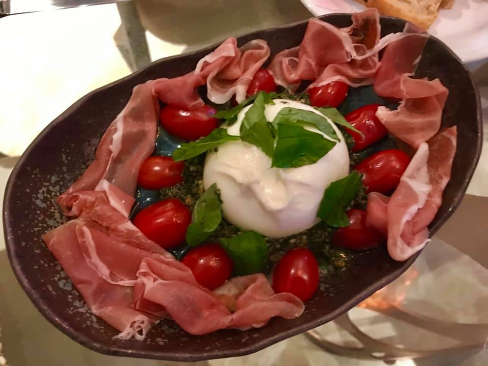 burrata with iberico ham