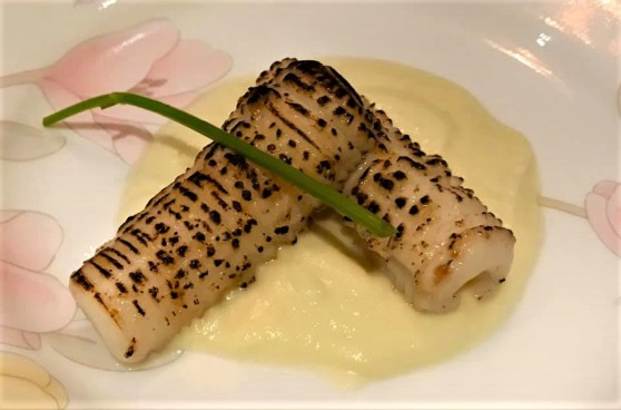 flamed squid on cauliflower puree