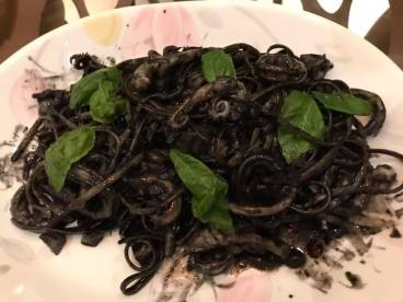 squid ink linguine with squid
