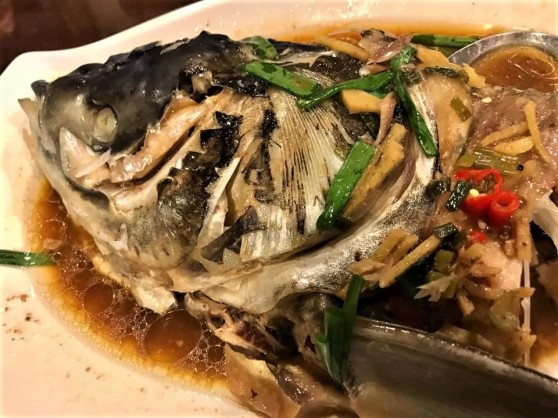 meen si (lime taujeon) steamed song fish head2