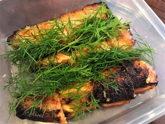 miso teriyaki salmon belly