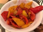 grilled red and yellow peppers