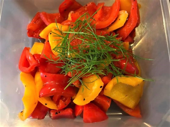 pangrilled red & yellow peppers