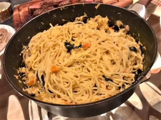 son made creamy crabmeat pasta